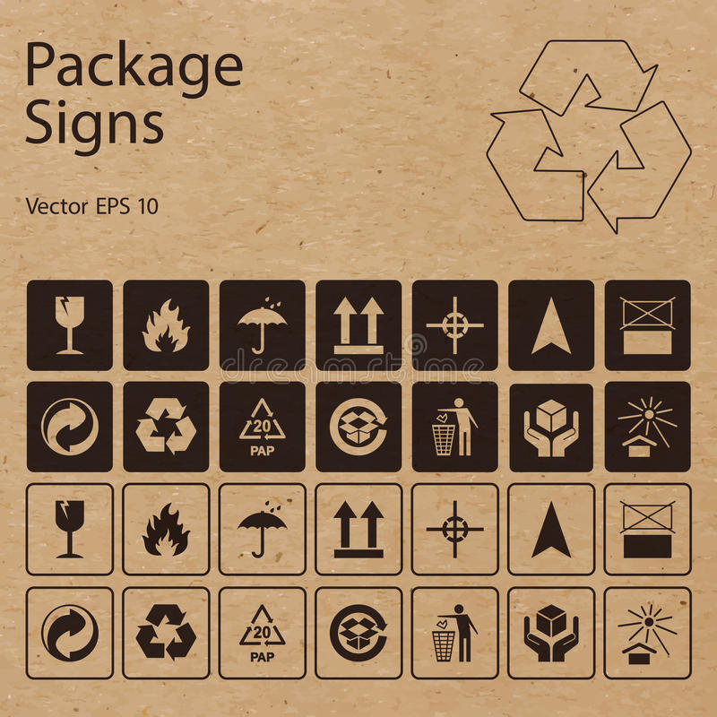 Vector Package Symbols On Craft Paper Background Stock Illustration