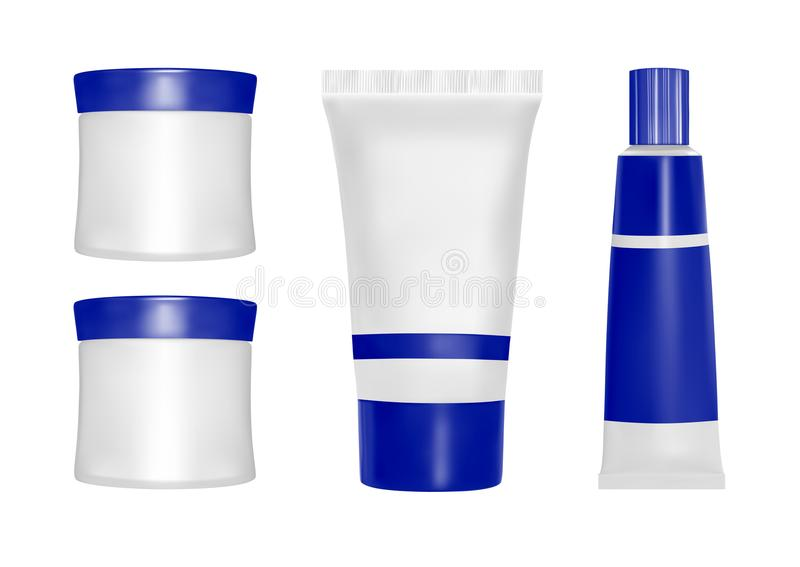 Vector packaging. Body care products. Oil, lotion or soap, shampoo, cream. Realistic bottle mock up set. Pack on white background vector illustration