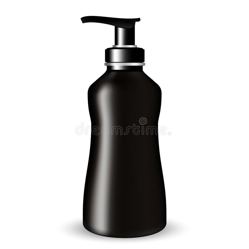 Dark Glass Cosmetic Bottle beauty products with black pump lid on white isolated background. royalty free illustration