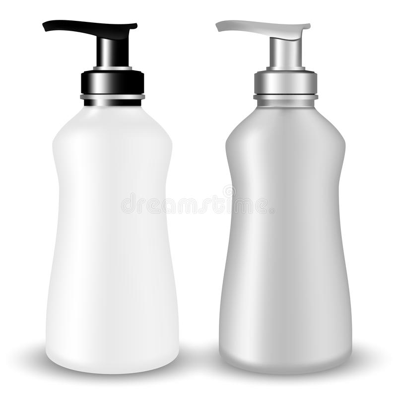SET of Gray and white plastic Cosmetic Bottle beauty products with black and silvery pump lid on white isolated background. stock illustration