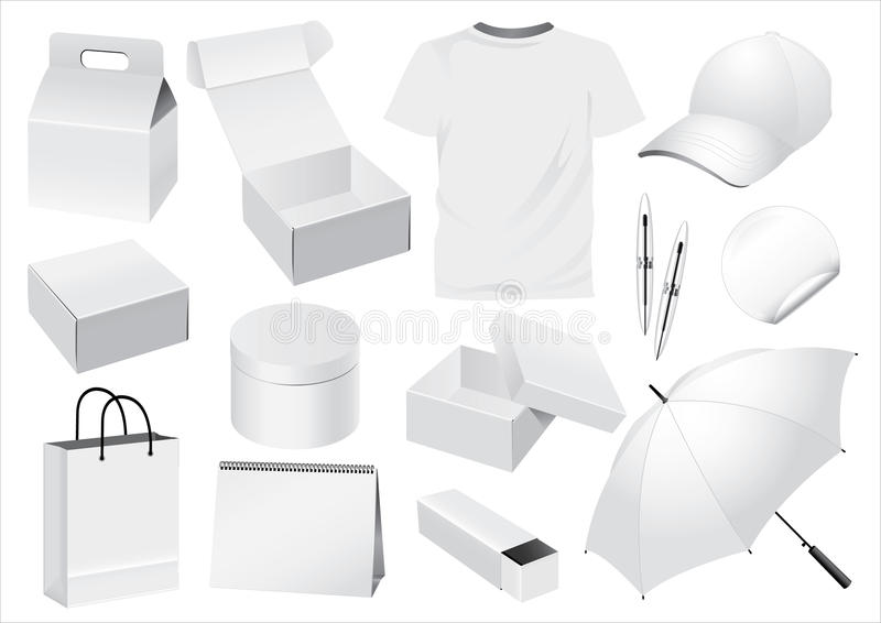 Vector Packaging and Souvenir dummy. Vector Packaging, Boxes, Paper Bag and Souvenir Dummy vector illustration