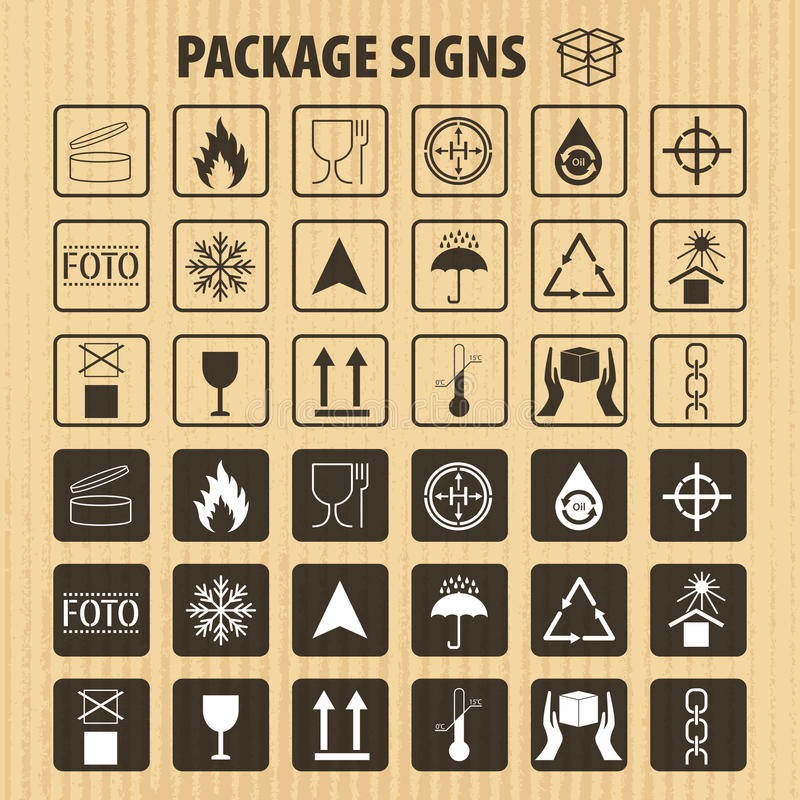 Vector packaging symbols on cardboard background. Shipping icon set including recycling, fragile, the shelf life of the pro royalty free illustration
