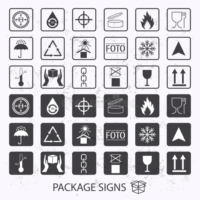 Vector packaging symbols on grunge background. Shipping icon set including recycling, fragile, the shelf life of the produc vector illustration