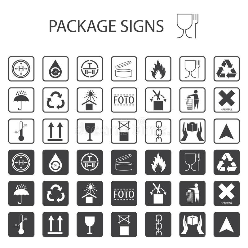 Vector packaging symbols on white background. Shipping icon set including recycling, fragile, the shelf life of the product, flamm stock illustration