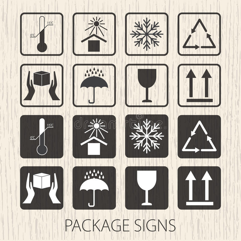 Vector packaging symbols on wooden background. Icon set including fragile, this side up, handle with care, keep dry and oth royalty free illustration