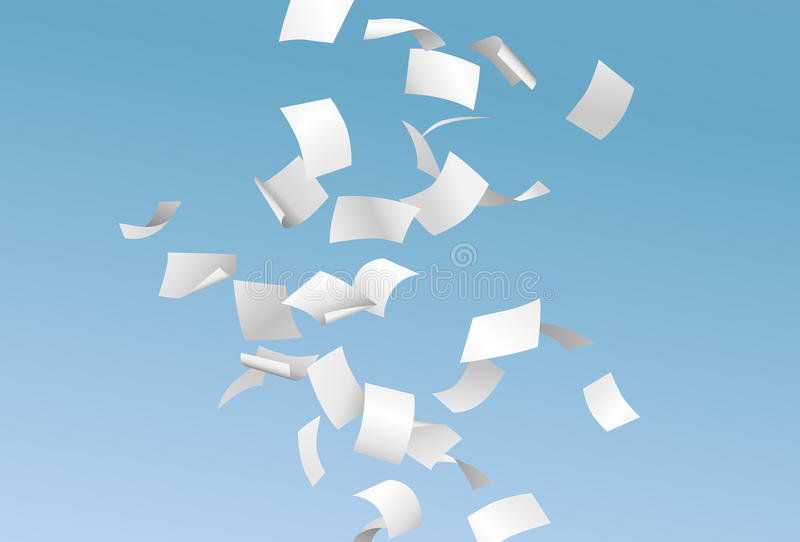 Vector pages or documents flying down in the wind with blue sky royalty free illustration