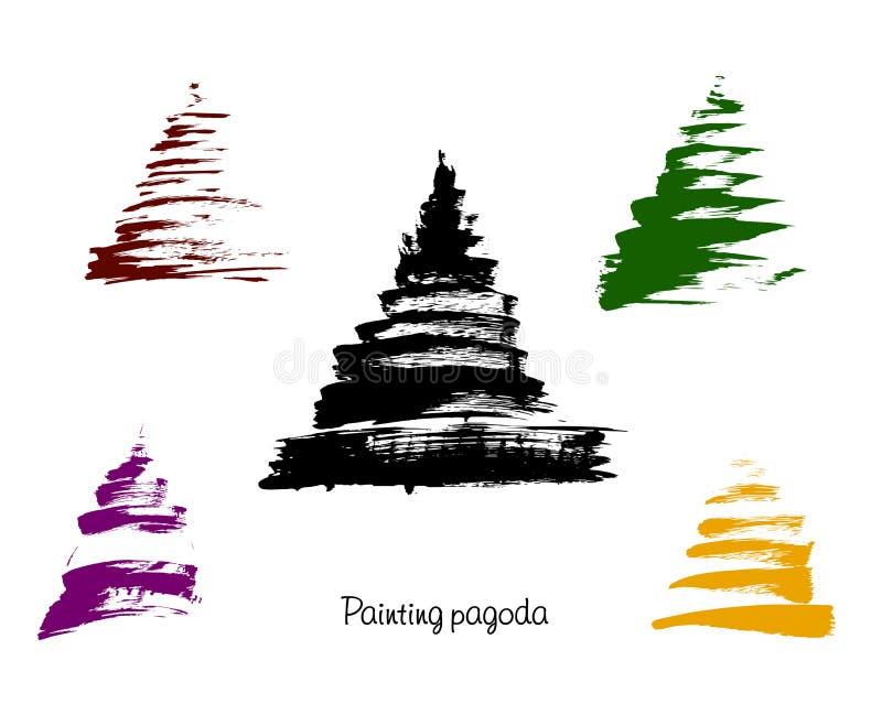 Vector pagoda illustration stock illustration