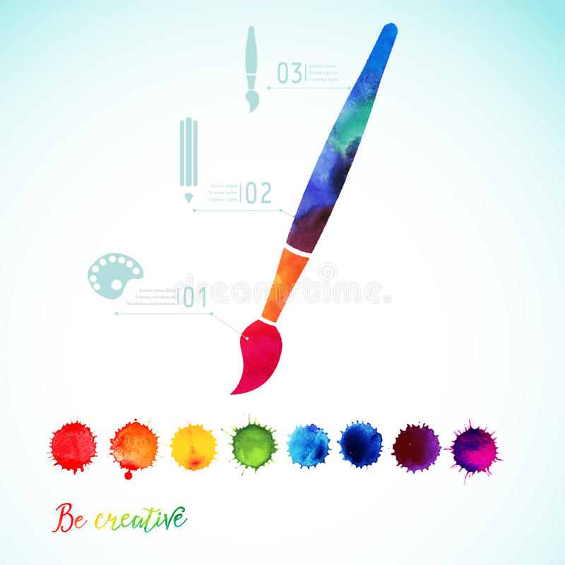 Vector paint brush silhouette made of watercolor. Creative icons, watercolor creative concept. Creativity and draw. Lettering. quote. Artist tool. Colorful royalty free illustration