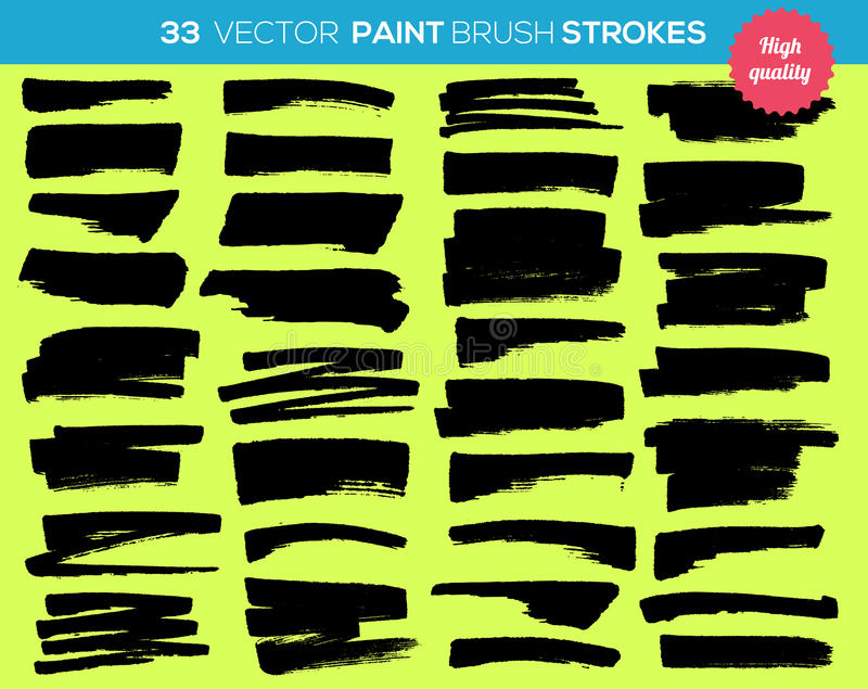 33 vector paint brushes. Ink strokes, paint splash royalty free illustration