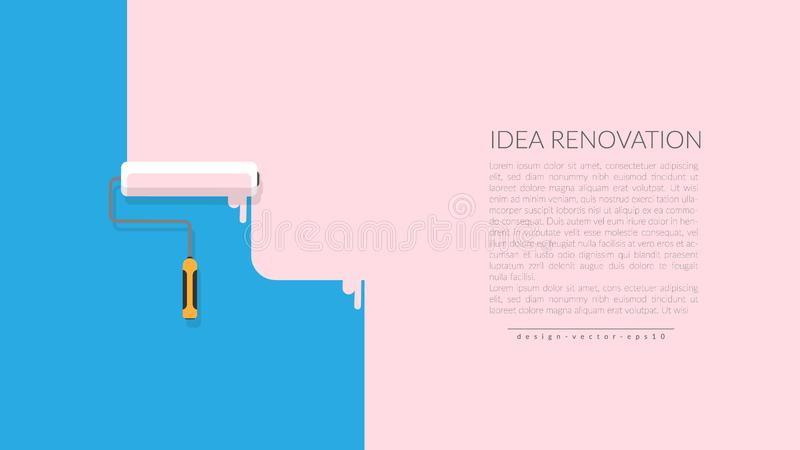 Vector of paint roller painting pink color on blue empty wall house. creative home repair and painting concept, logo design poster vector illustration