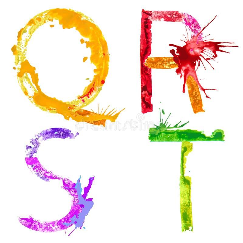Free Vector Paint Splash Font Q,R,S,T Stock Photo - 40502840