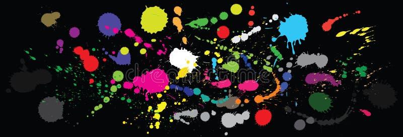 Vector paint splashes. Colourful vector paint splashes on black background vector illustration