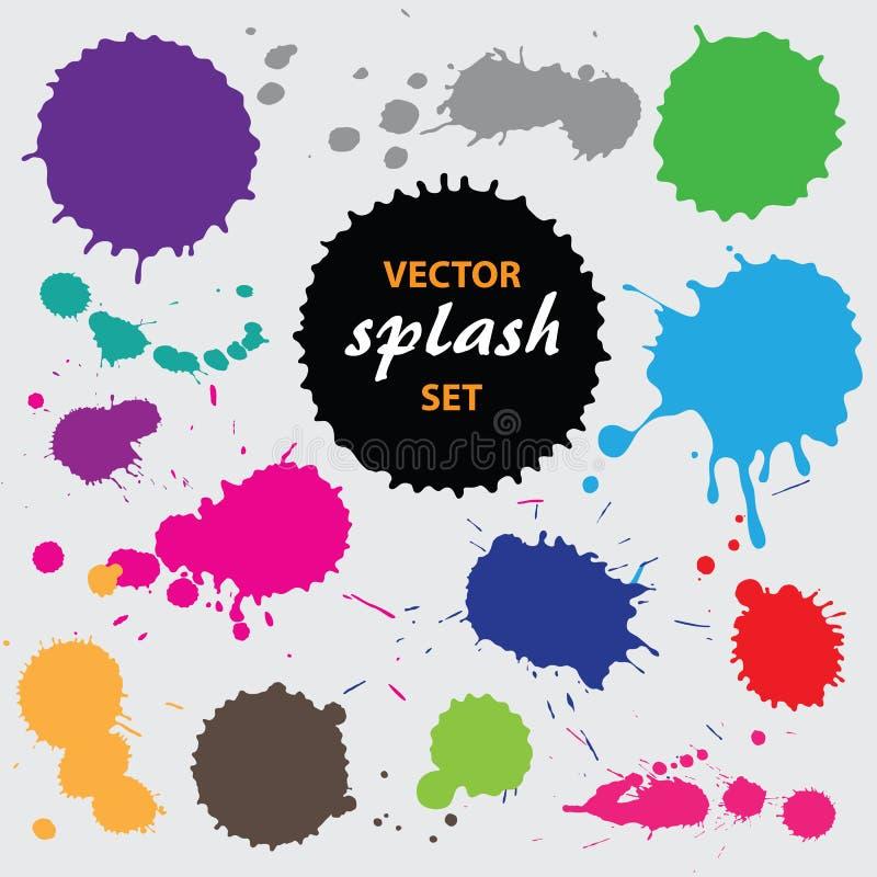 Vector paint splashes. Colourful paint splashes, vector illustration stock illustration