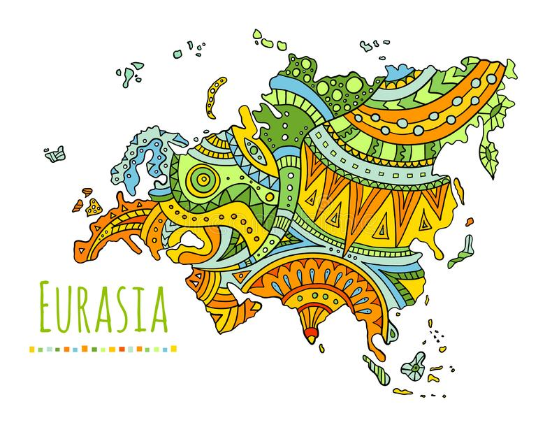 Vector painted map of Eurasia. Vector Doodle Continent. Patterned map of Eurasia. Hand-drawn doodle continent. Vector illustration royalty free illustration