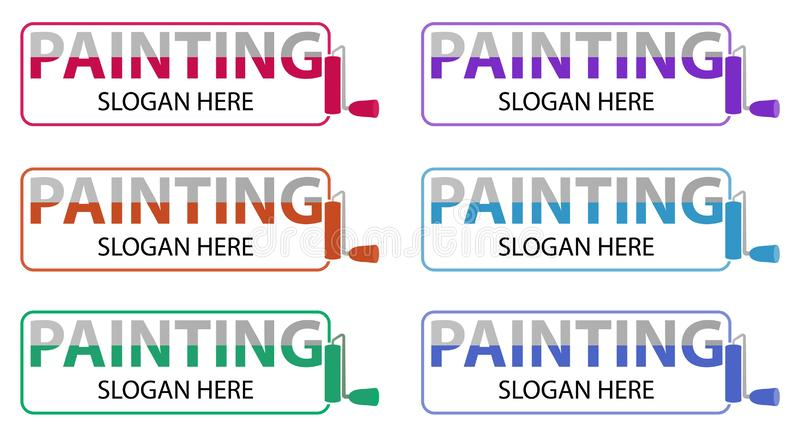 Vector painting business logo. Logotype design related to house repair, remodeling or painting. House painting service, decor and vector illustration