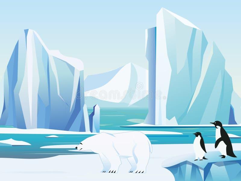 Vector a paisagem ártica da ilustração com urso e pinguins polares, iceberg e montanhas Fundo do inverno do clima frio ilustração royalty free