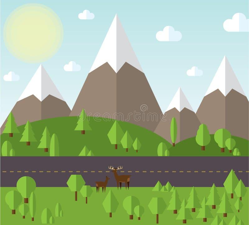 Vector a paisagem da montanha da ilustração ao lado da estrada, os montes são cobertos ilustração stock