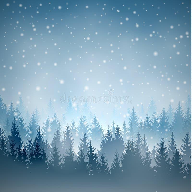 Vector a paisagem quadrada azul com as silhuetas das árvores ilustração stock