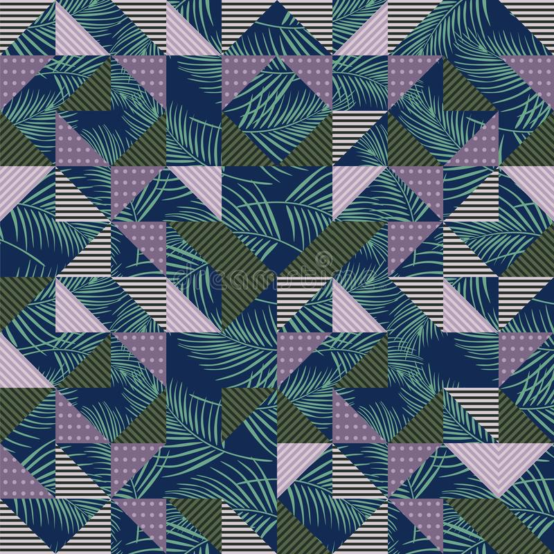 Free Vector Palm Leaves Seamless Pattern With Geometric Triangle Blue And Green Colors. Stock Photos - 130125413