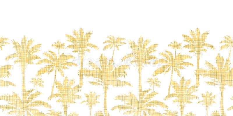 Vector palm trees golden textile horizontal stock illustration