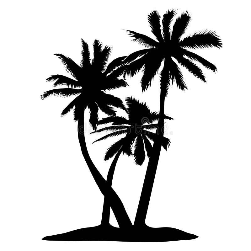 vector Palme-Schattenbildikonen auf weißem Hintergrund lizenzfreie abbildung