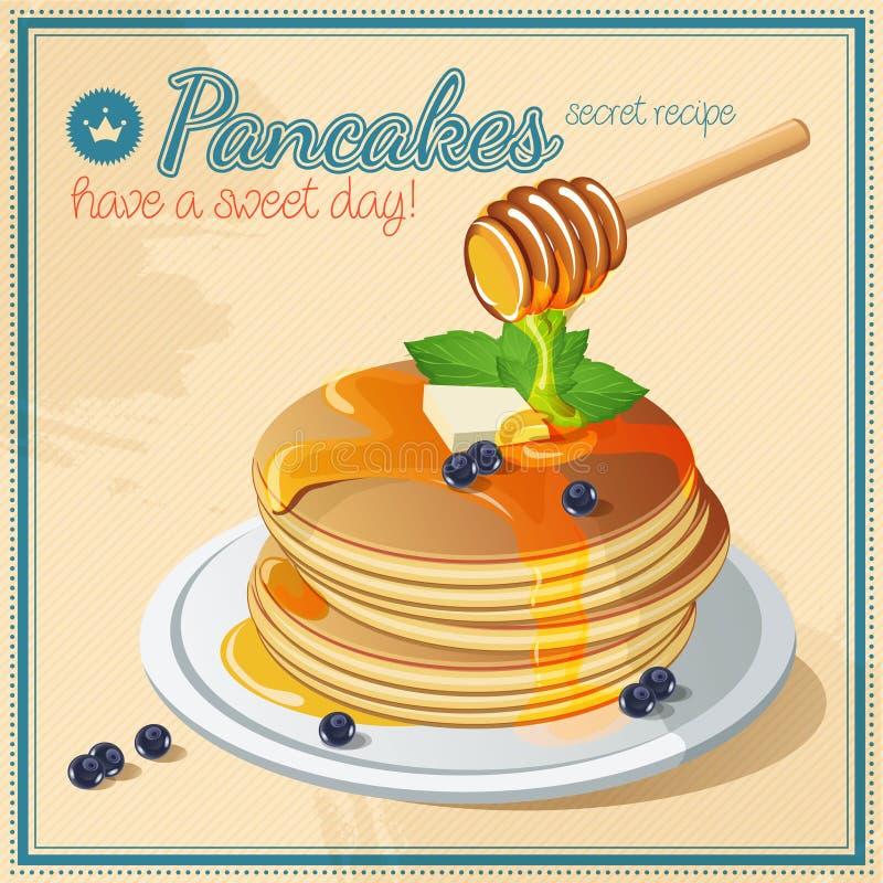 Vector pancake. Honey. Sweets. Butter. Vintage. Signboard. stock illustration