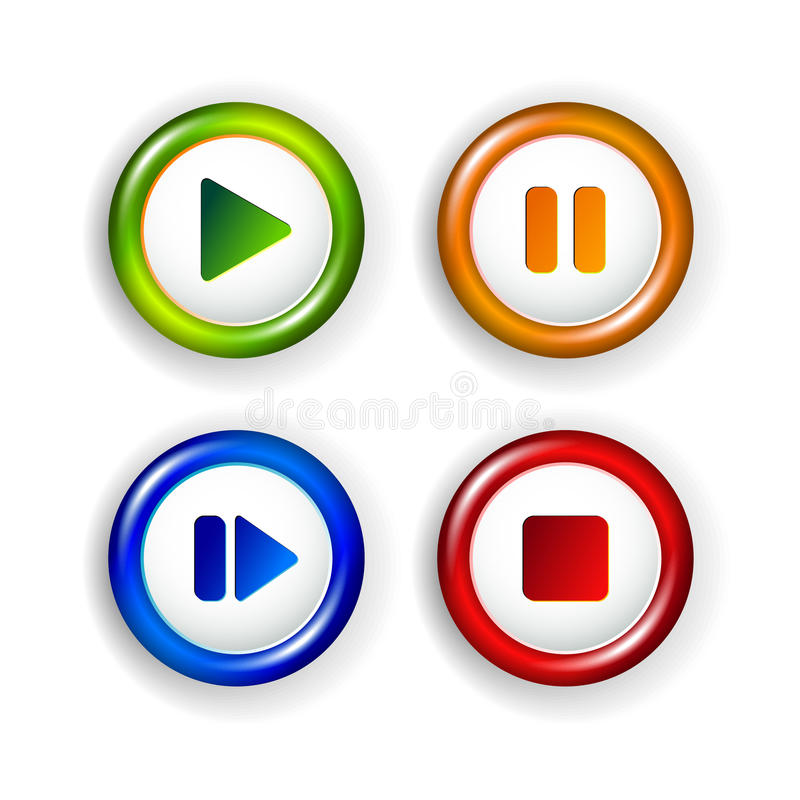 Download Vector Panel Elements - Play, Pause, Stop, Forward Stock Photo - Image: 28791750