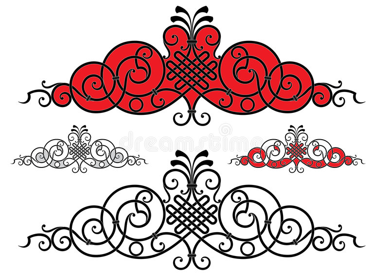 Vector panels with scrolls royalty free illustration