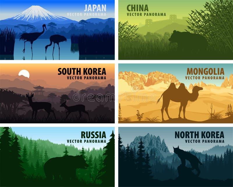 Vector panorama of China, Japan, North Korea, South Korea, Mongolia, Russia vector illustration