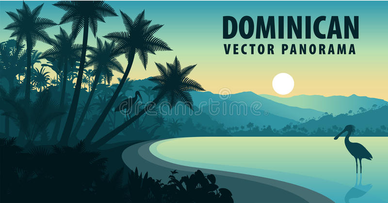 Vector panorama of Dominican Republic with beach and spoonbill vector illustration