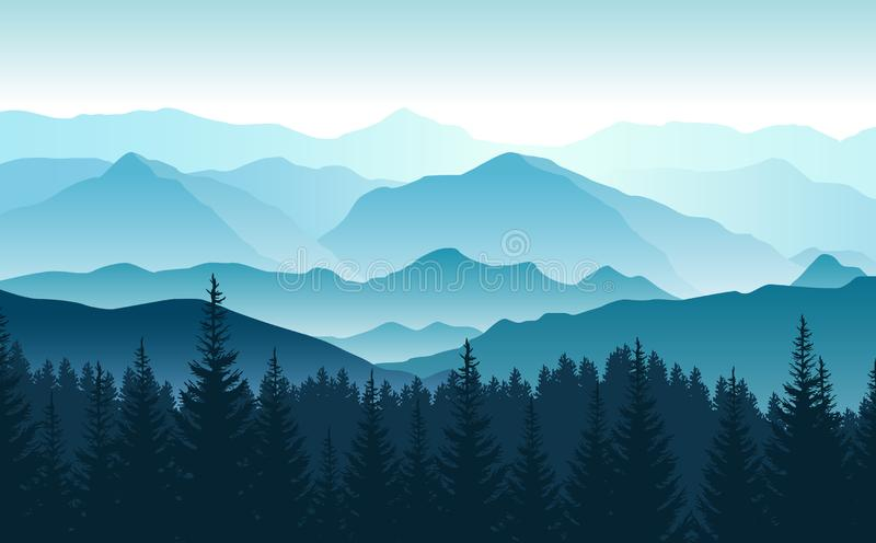 Vector panoramic landscape with blue silhouettes of foggy mountains and forest in front.  royalty free illustration