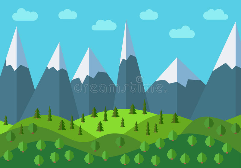 Vector panoramic mountain cartoon landscape. Natural landscape in the flat style with blue sky, clouds, trees, hills and mountains. With snow on the peaks royalty free illustration