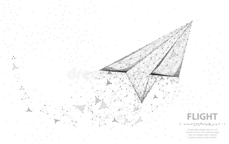 Vector Paper airplane. Abstract polygonal wireframe plane illustration on white background. Dream symbol. vector illustration