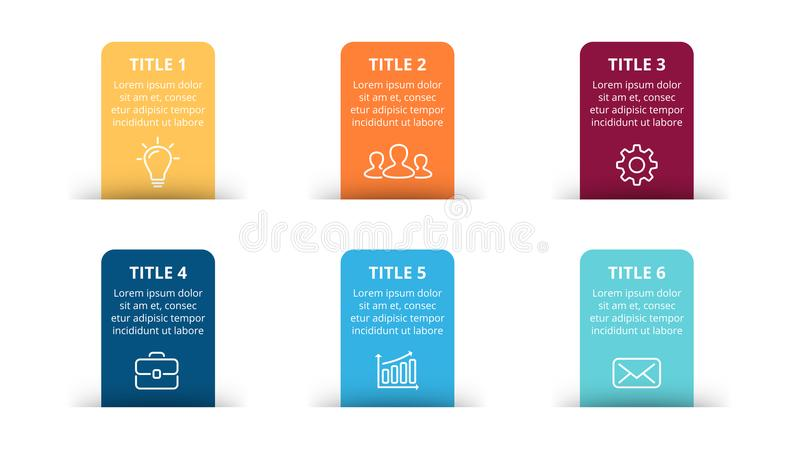 Vector paper arrows infographic, banners diagram, labels graph, stickers presentation chart. Business concept with 6. Circle arrows diagram for graph infographic stock illustration
