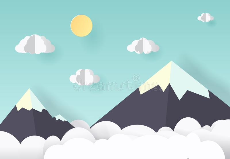 Vector paper art and craft style. Illustration of nature landscape, cloud and mountain.  royalty free illustration