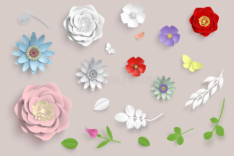 Vector paper art flowers set. 3d origami flowers, leaves and butterfly. Stock illustration vector illustration