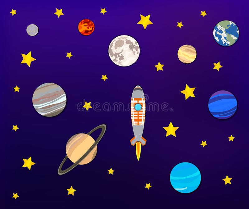 Vector Paper Art: Space Adventure, Planets, Moon, Stars and Rocket. stock illustration