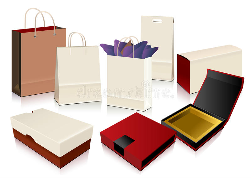 Vector Paper Bag and Boxes royalty free illustration