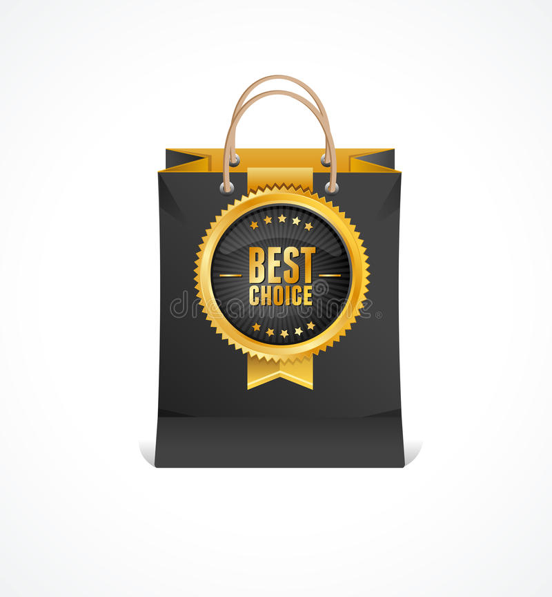 Vector paper bag and gold label Best Choice stock illustration