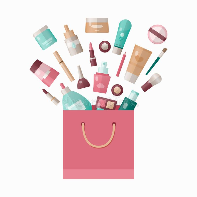 Vector illustration of cosmetics products in shopping bag vector illustration