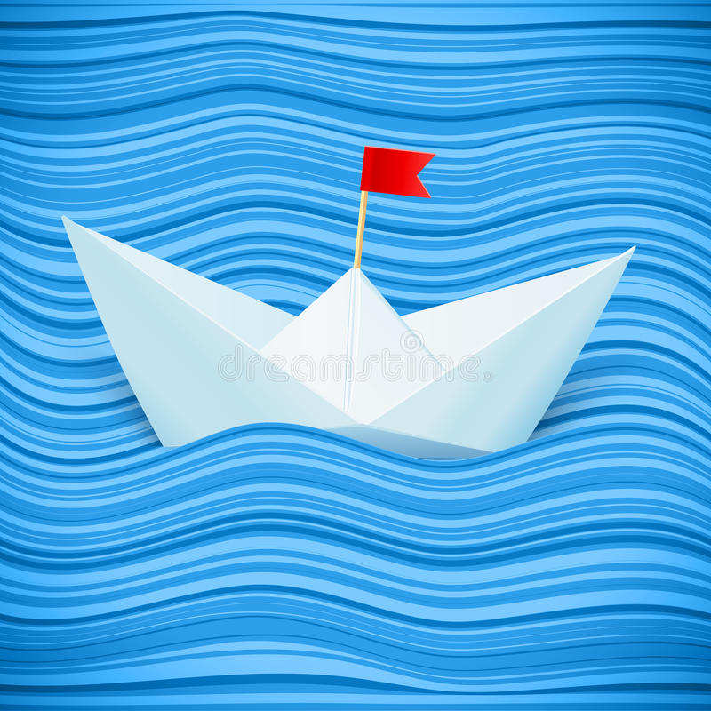 Vector paper boat in blue waves of sea stock illustration