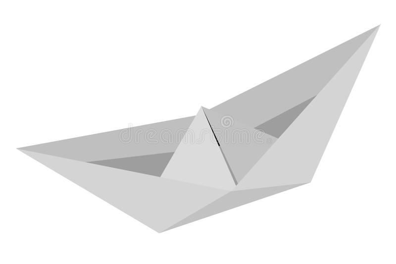Paper Boat, at White Background with reflection vector illustration