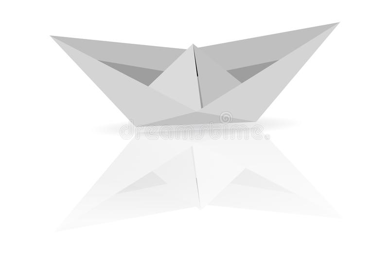 Paper Boat at white background with soft shadow and reflection royalty free illustration