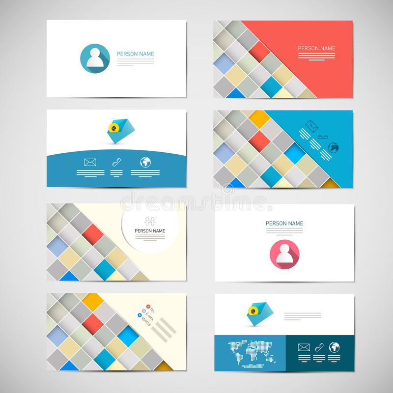 Vector Paper Business Card Template stock illustration