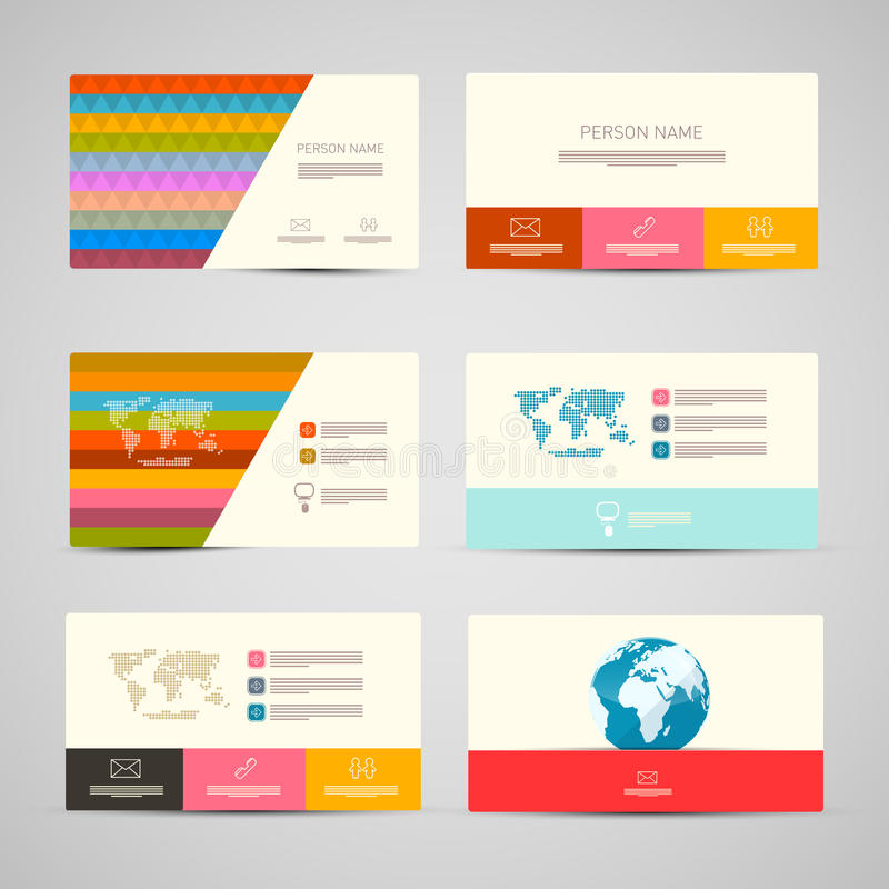 Vector Paper Business Cards Template Set royalty free illustration