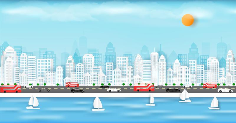 Vector paper cut and in the big city with buildings and homes royalty free illustration
