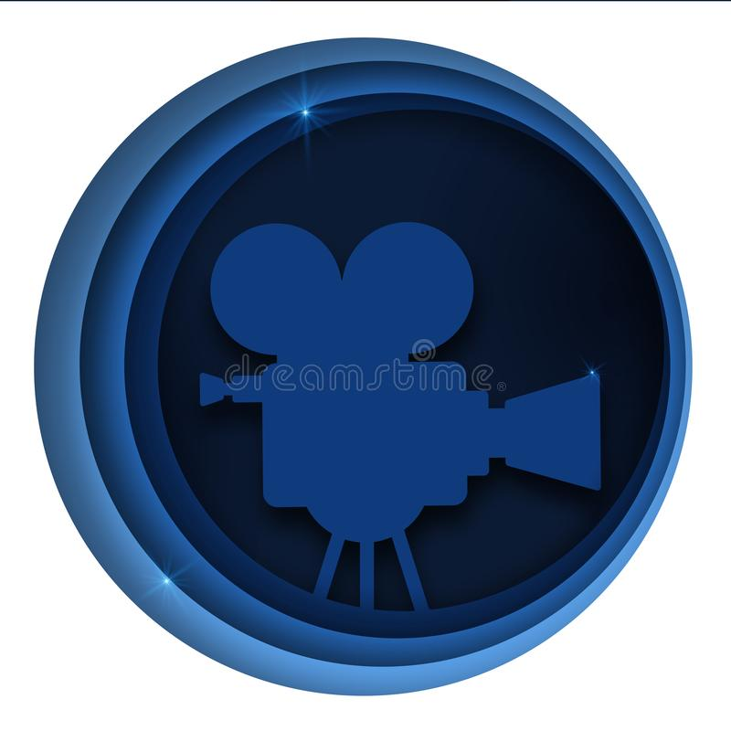Vector paper cut cinema decorations with film projector, audience in circle frame. Design layout for cinema festival. Poster or banner, flyer, card, brochure royalty free illustration