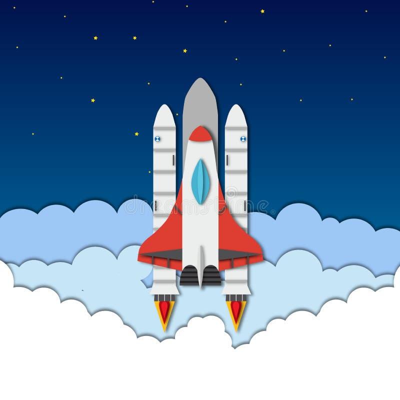 Vector paper cut illustration with rocket, shuttle, sky, clouds vector illustration