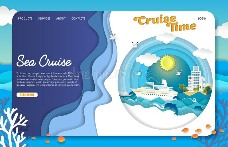 Vector paper cut sea cruise landing page website template. Sea cruise landing page website template. Vector paper cut cruise liner floating on ocean waves stock illustration