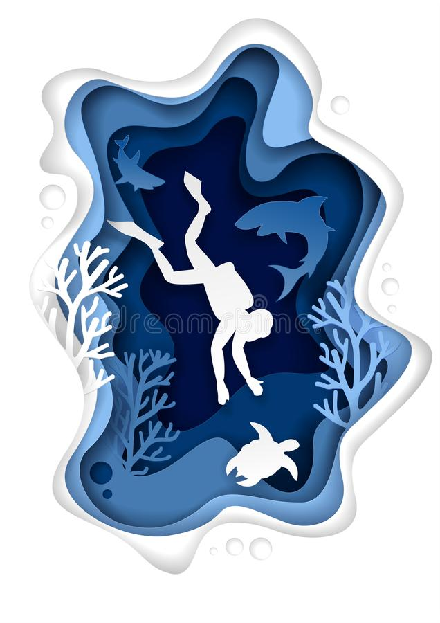 Underwater scuba diving vector paper cut illustration. Vector paper cut underwater sea cave with coral reef fish seaweed and diver swimming with sea turtle and royalty free illustration